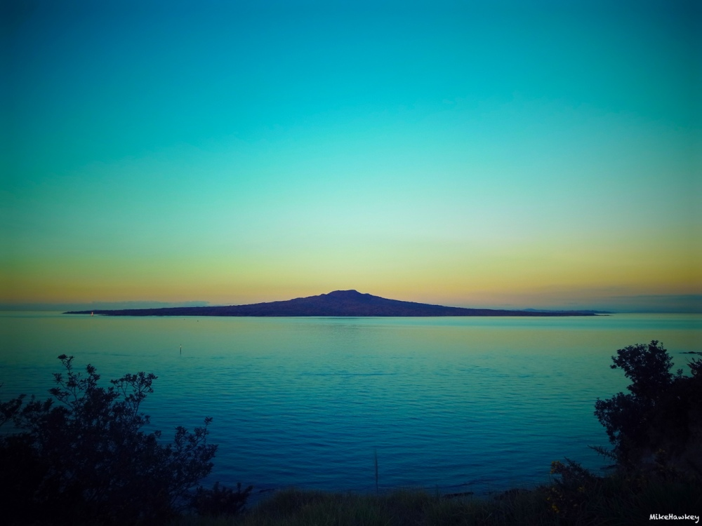 Rangitoto in blue